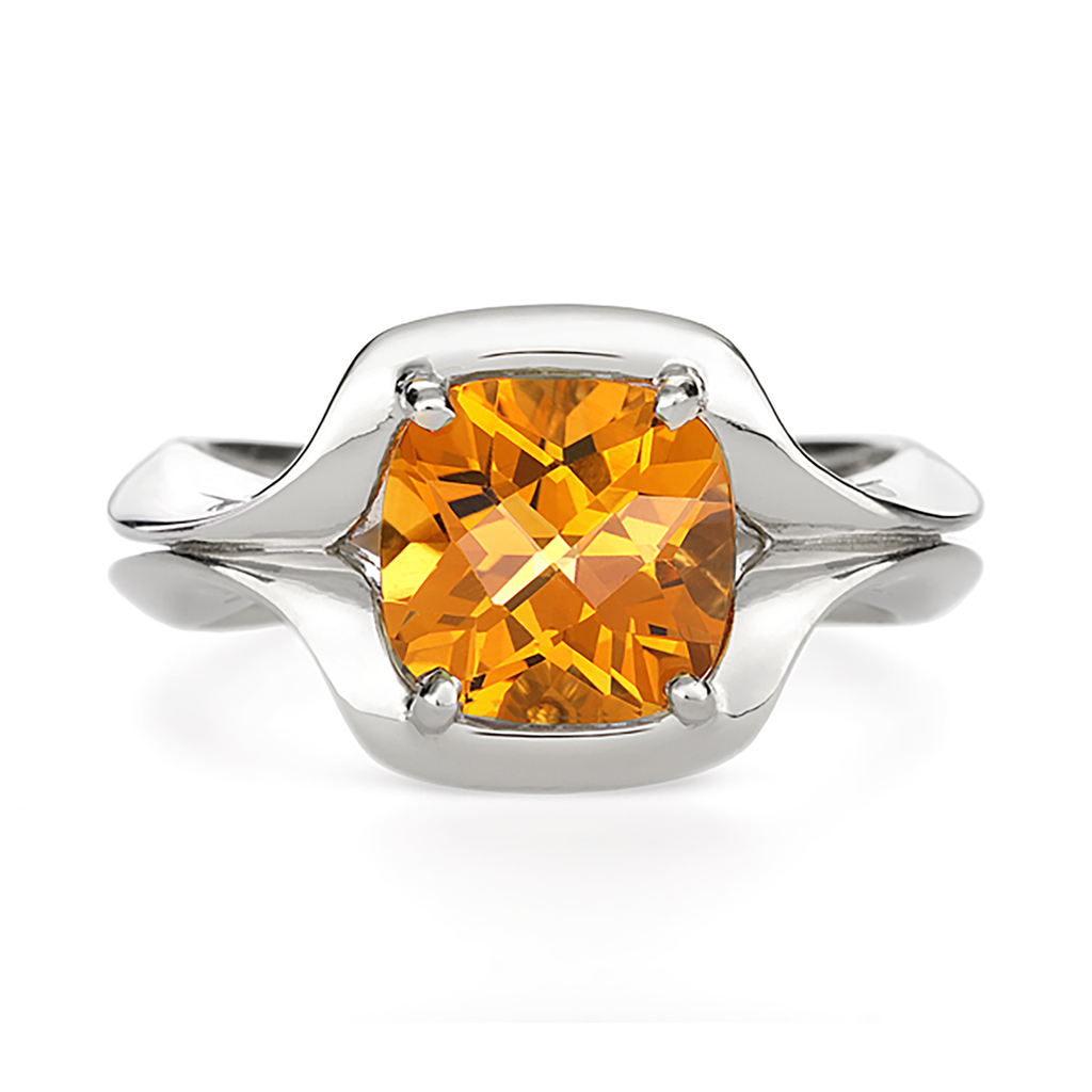 Duet Citrine Gem Stone and White Gold Ring by Diana Vincent