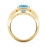 Unique Setting Duet Blue Topaz and Yellow Gold Ring Side View