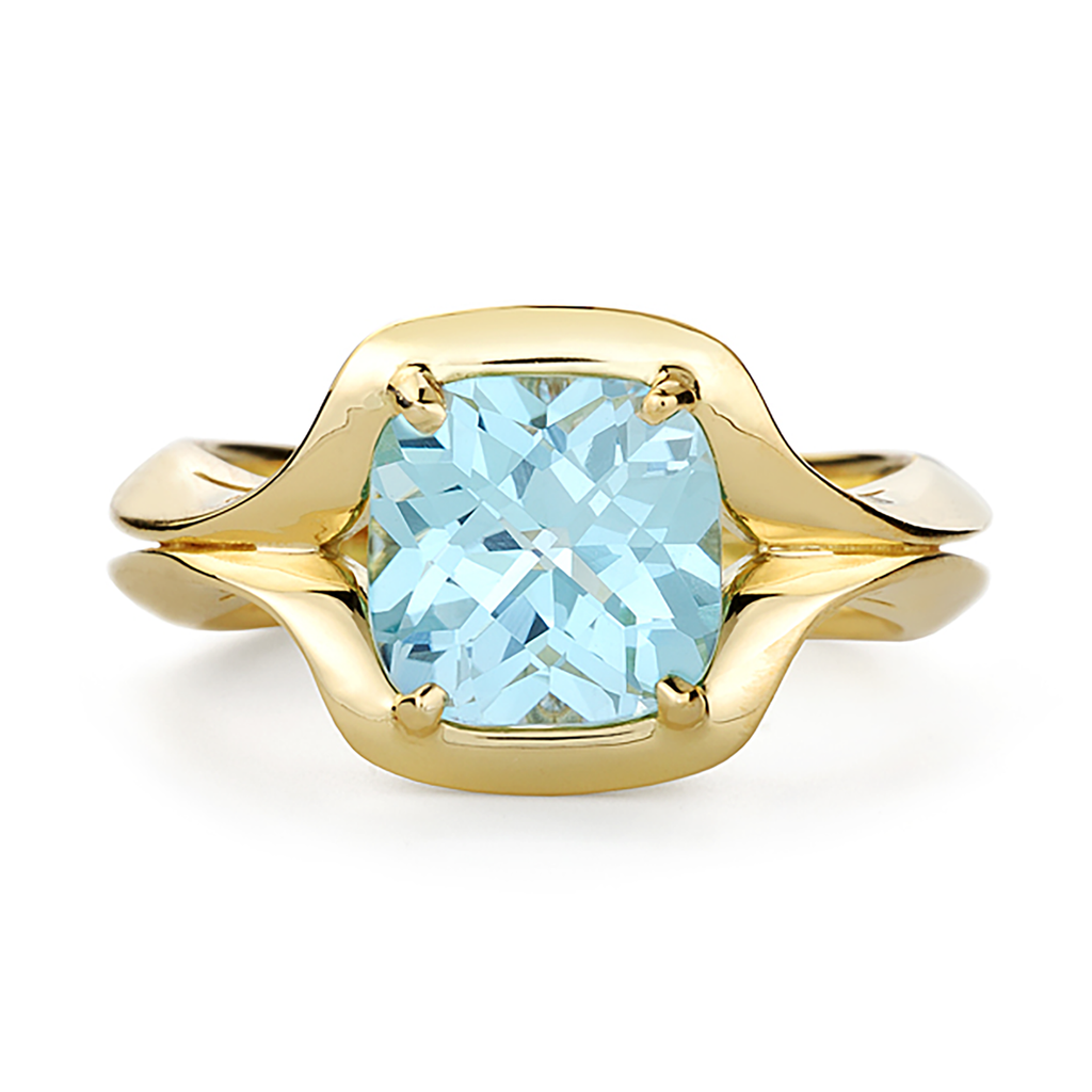 Duet Blue Topaz Gemstone and Yellow Gold Ring by Diana Vincent
