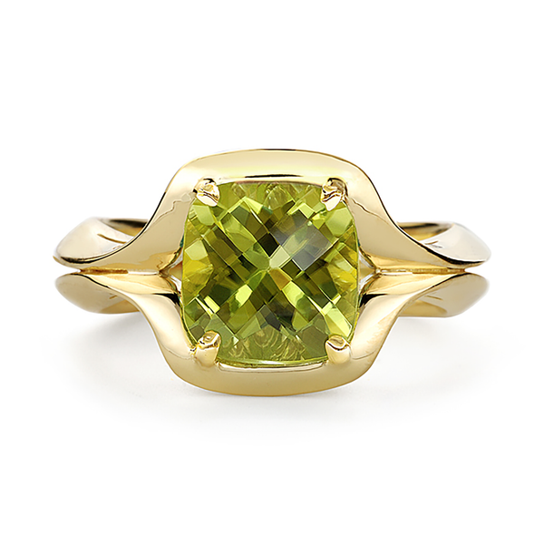 Duet Peridot and Yellow Gold Ring