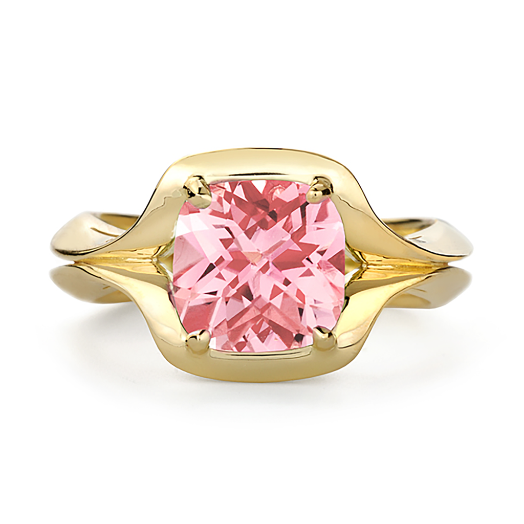 Duet Pink Tourmaline and Yellow Gold Ring by Diana Vincent