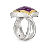 Twizzle Cushion Amethyst and Sterling Silver Two Bands Ring Side View