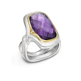 Twizzle LArge Cushion Amethyst Gemstone and Sterling Silver Ring by Diana Vincent