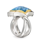 Twizzle Two Bands Cushion Blue Topaz and Sterling Silver Ring Side view