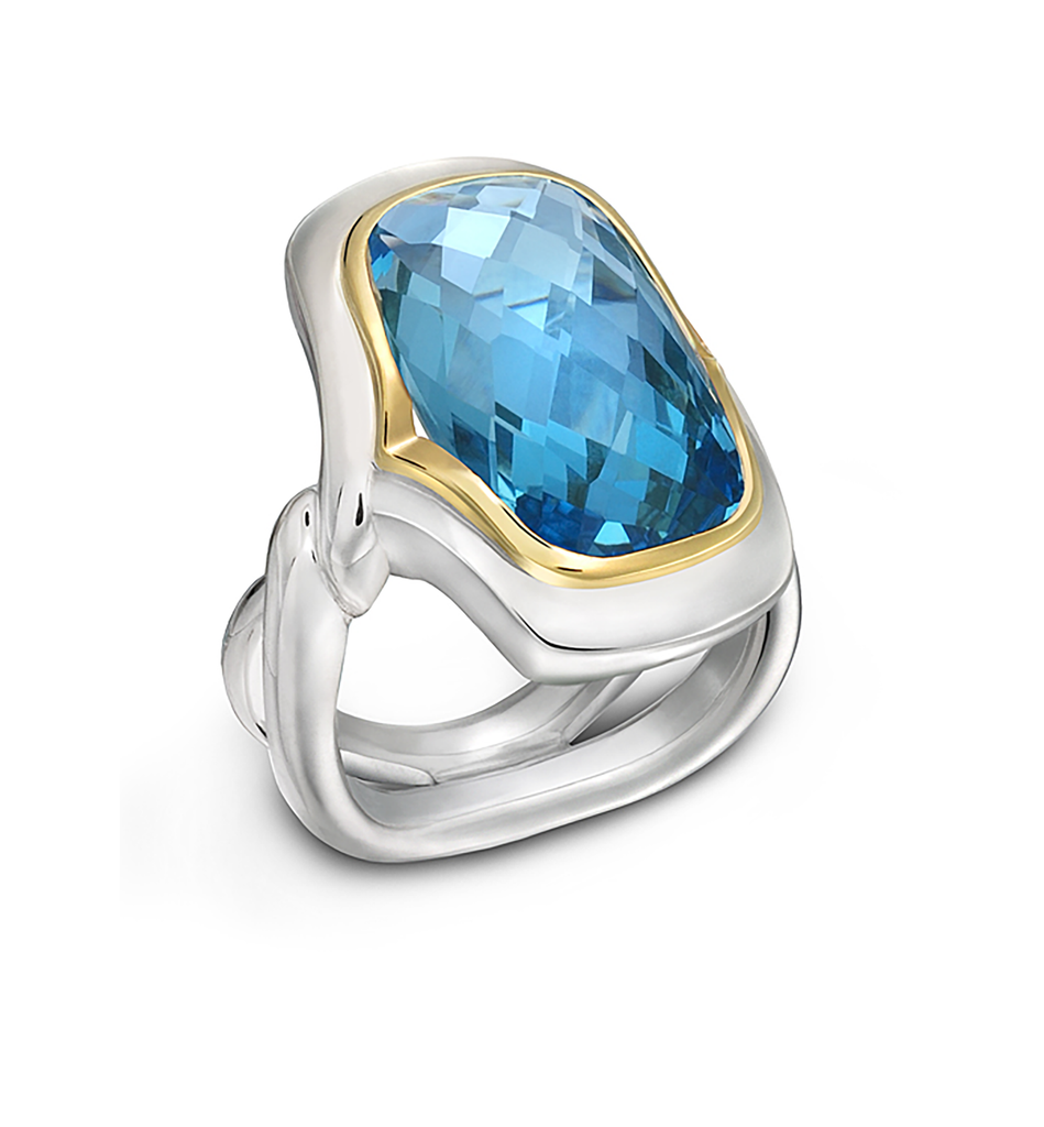 Twizzle Large Cushion Blue Topaz Gemstone and Sterling Silver Ring by Diana Vincent