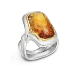 Twizzle Large Cushion Citrine  Gemstone and Sterling Silver Ring