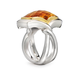 Twizzle Double Band Cushion Citrine Gemstone and Sterling Silver Ring by Diana Vincent
