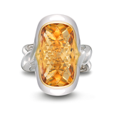 Twizzle LArge Cushion Citrine Gemstone and Sterling Silver Ring by Diana Vincent
