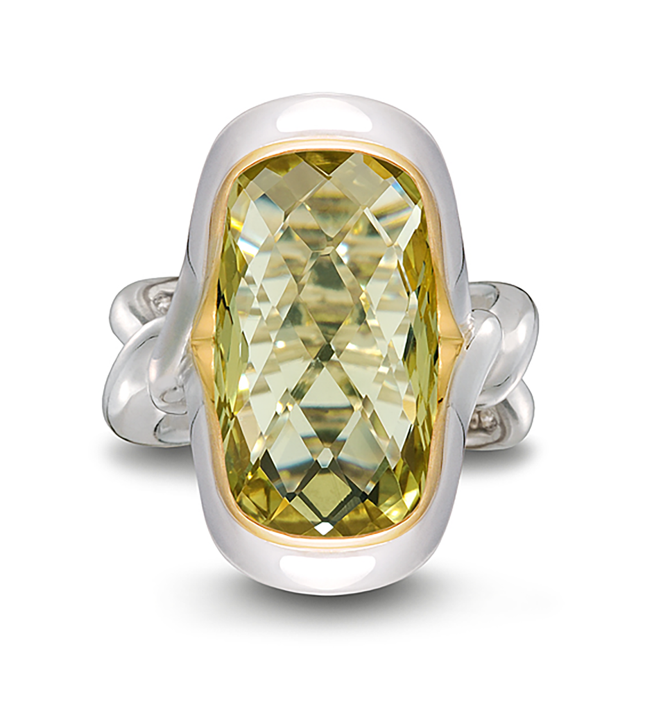 Twizzle Cushion Lemon Quartz Gemstone and Sterling Silver Ring by Diana Vincent