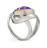 Twizzle Amethyst Gemstone and Sterling Silver Wrap Swirl Twist Design Ring