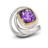 Unique Twizzle Amethyst Gemstone and Sterling Silver Wrap Ring