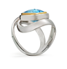 Twizzle Twist Design Blue Topaz Gemstone and Sterling Silver Wrap Ring
