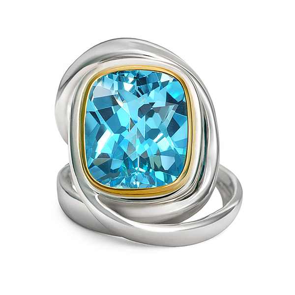 Twizzle Blue Topaz and Sterling Silver Wrap Ring
