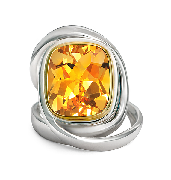 Twizzle Citrine Gemstone and Sterling Silver Wrap Ring by Diana Vincent