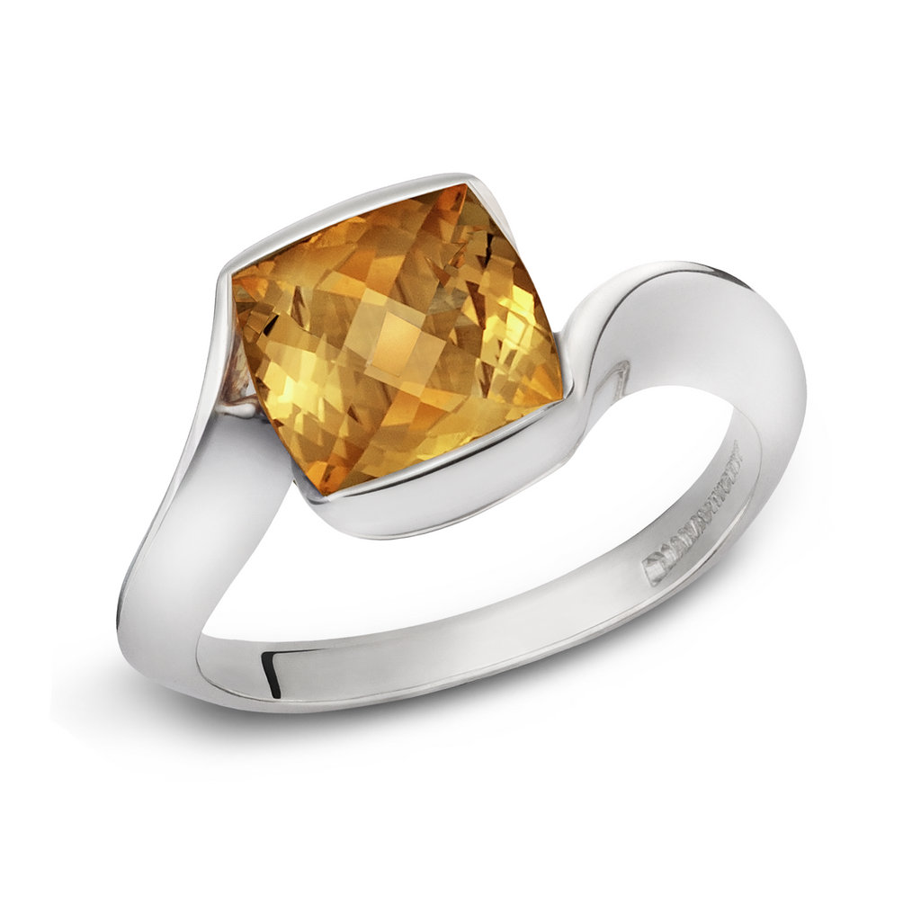 Contour Cushion Cut Citrine Gemstone and Sterling Silver Ring by Diana Vincent