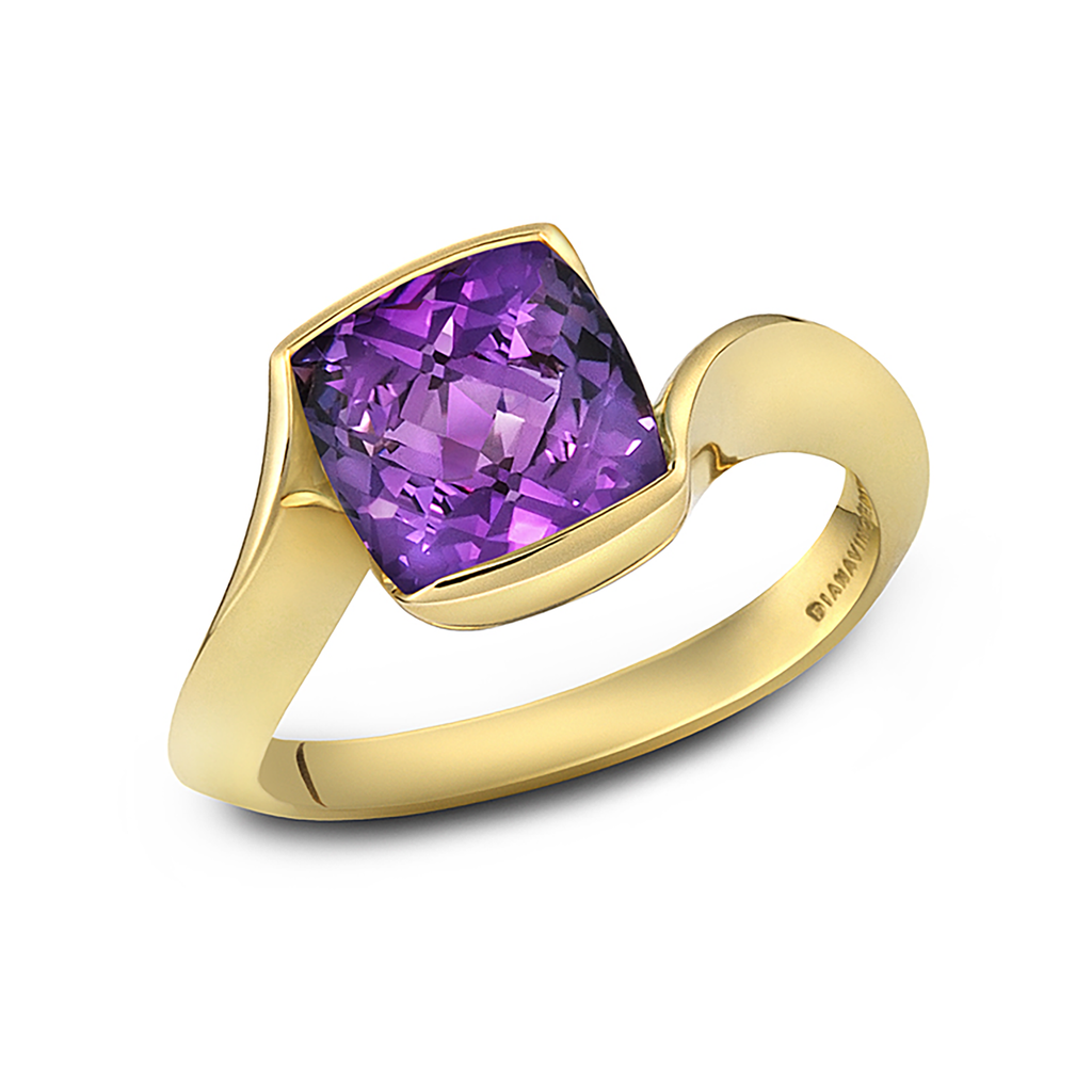 Contour Cushion Amethyst Gemstone and Yellow Gold Ring by Diana Vincent