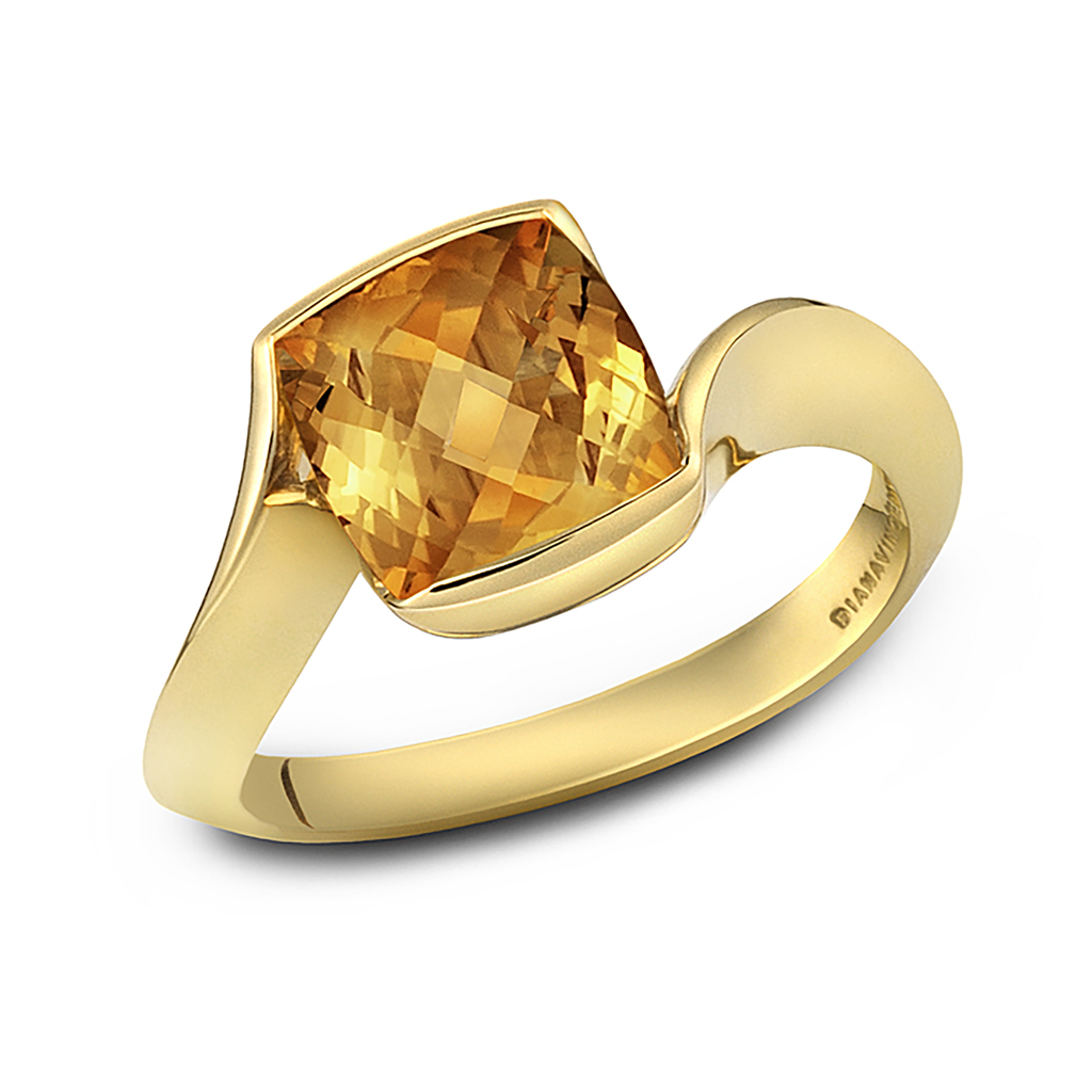 Contour Cushion Citrine Gemstone and Yellow Gold Ring by Diana Vincent