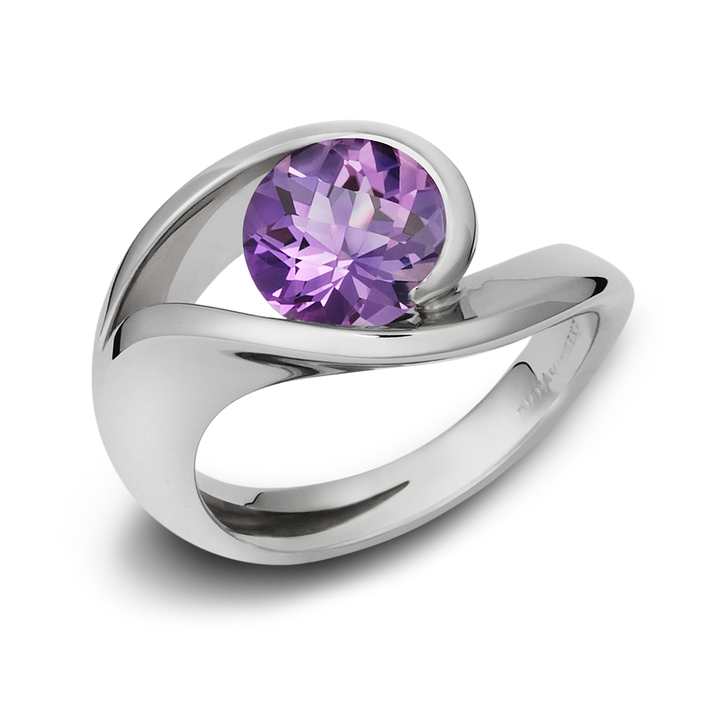 Contour Amethyst Gemstone and Sterling Silver Ring by Diana Vincent
