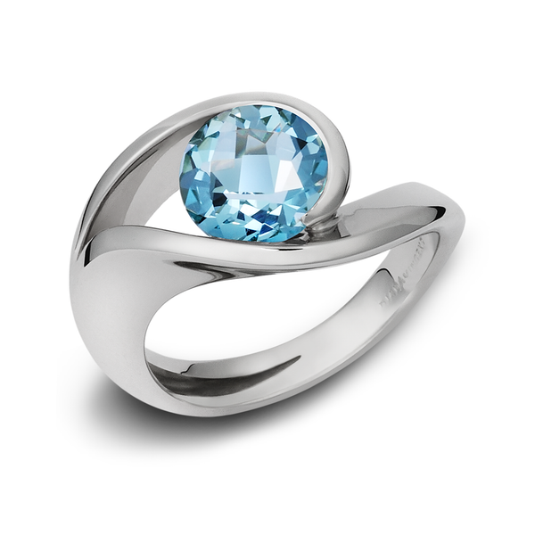 Contour Blue Topaz and Sterling Silver Ring
