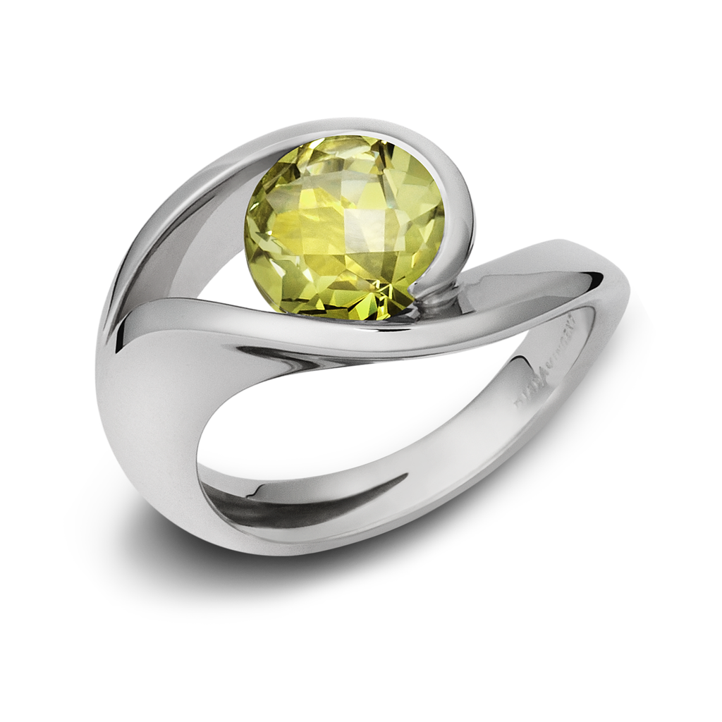 Contour Lemon Quartz Gemstone and Sterling Silver Ring by Diana Vincent