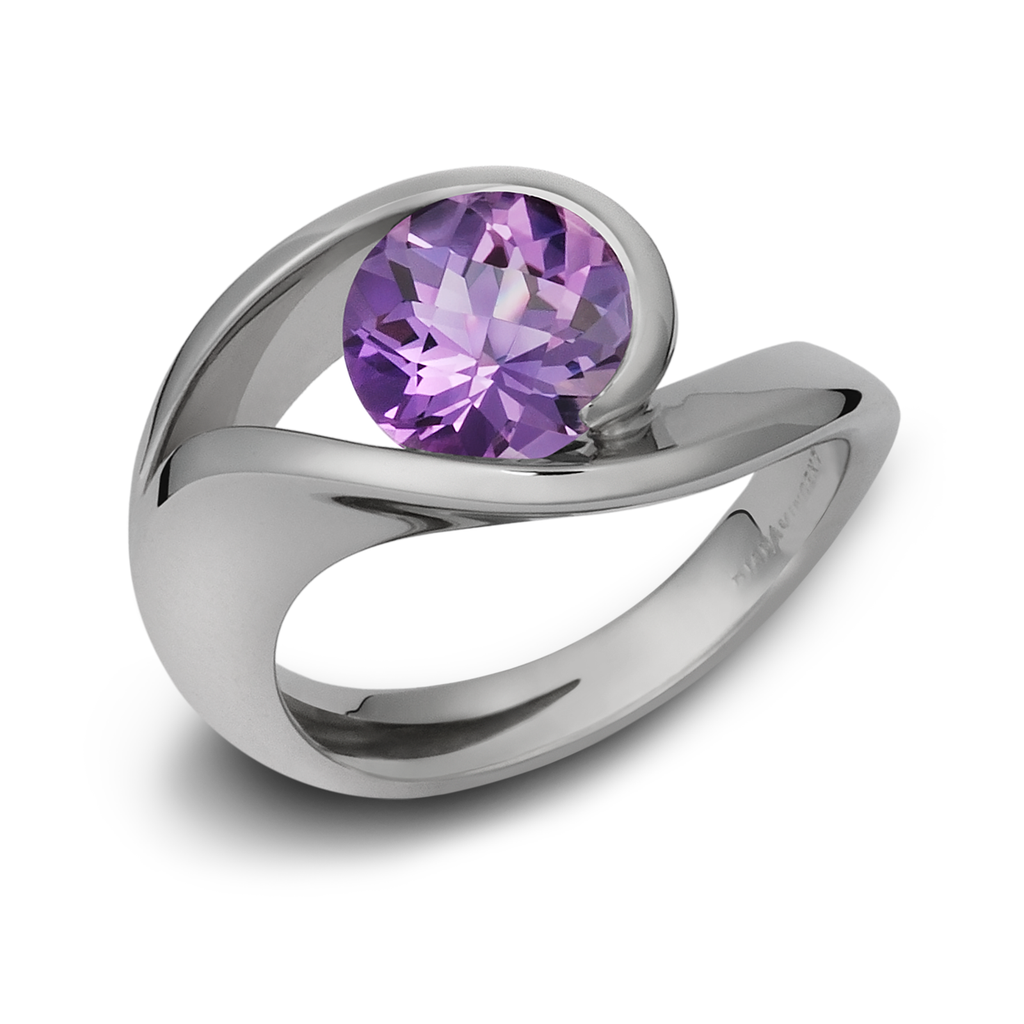 Contour Amethyst Gemstone and White Gold Ring by Diana Vincent