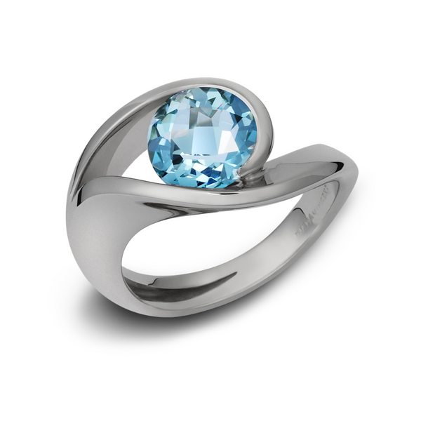 Contour Blue Topaz and White Gold Ring