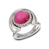 Large Cabochon Pink Tourmaline Gemstone and Diamond Double Band Ring by Diana Vincent
