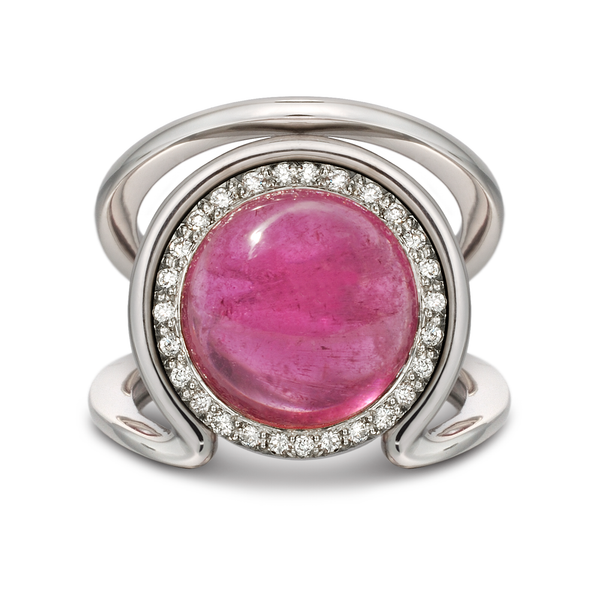 Large Cabochon Pink Tourmaline Gemstone and Diamond Ring by Diana Vincent