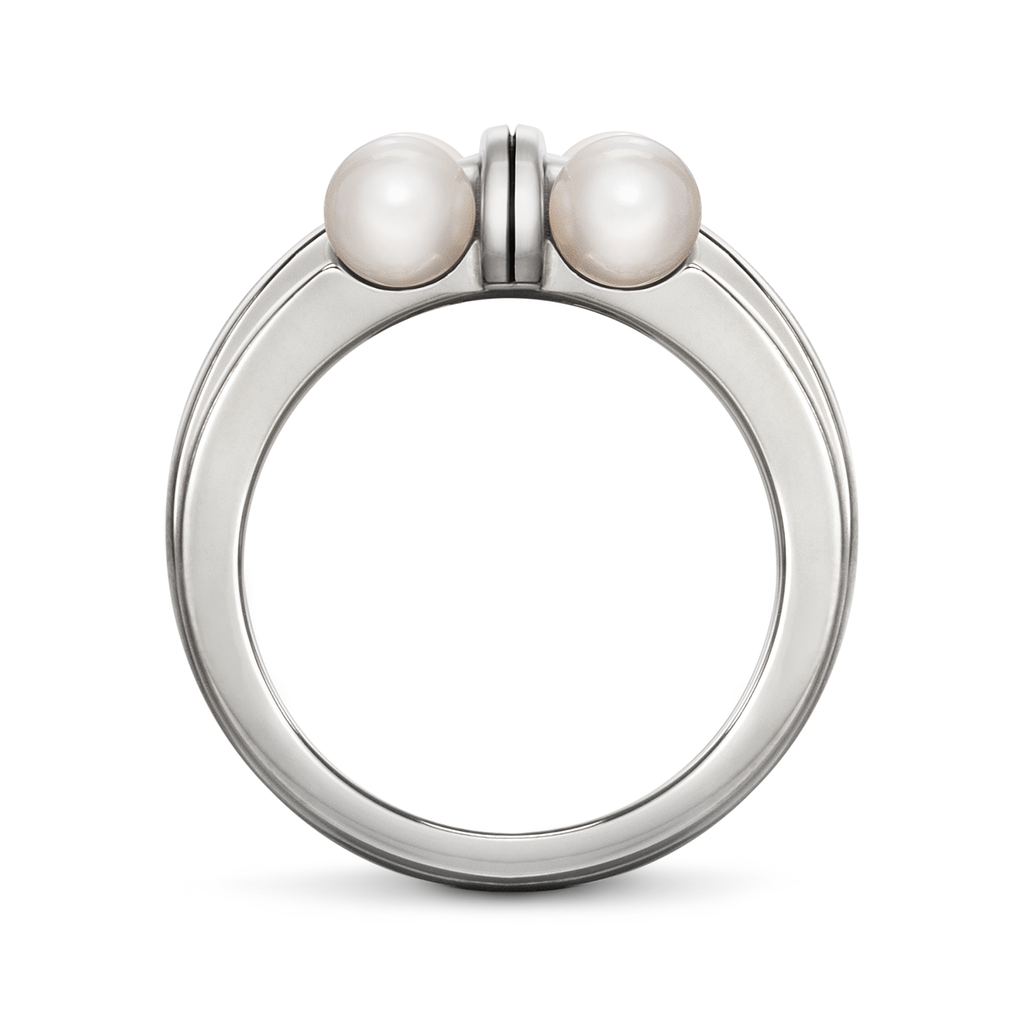 Girl Interrupted Cross Pearls and Sterling Silver Ring by Diana Vincent Side View