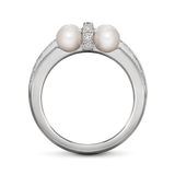 Girl Interrupted Cross Pearls and Diamond Ring in White Gold Side View