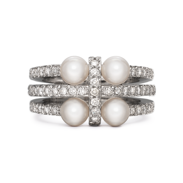 Girl Interrupted Cross Pearls and Diamond Ring in White Gold by Diana Vincent