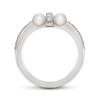 Girl Interrupted Pave Diamond and Pearls Cross Ring in White Gold Side View