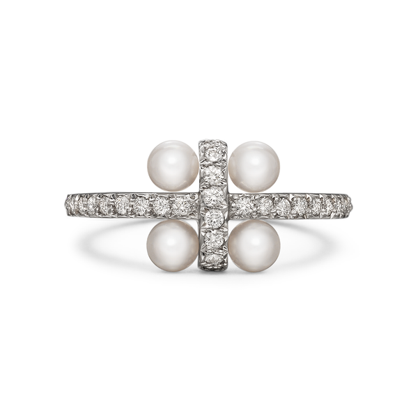 Girl Interrupted Pave Diamond and Pearls Cross Ring in White Gold by Diana Vincent