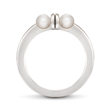 Girl Interrupted Pearls Cross Ring in White Gold Side View