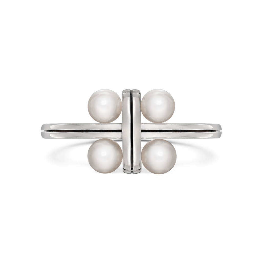 Girl Interrupted Pearls Cross Ring in White Gold by Diana Vincent