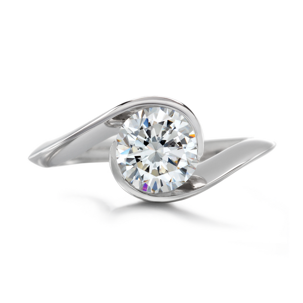 Diamond & Platinum Contour Solitaire Engagement Ring by Diana Vincent