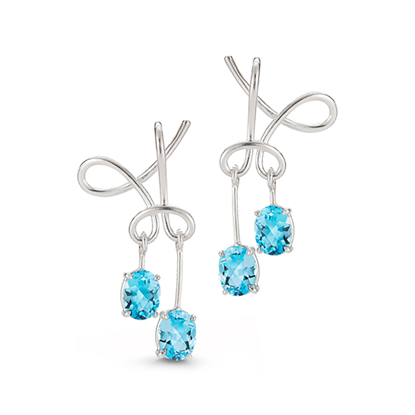 Kaleidoscope Blue Topaz Gem Stones and Sterling Silver Twist Earrings by Diana Vincent
