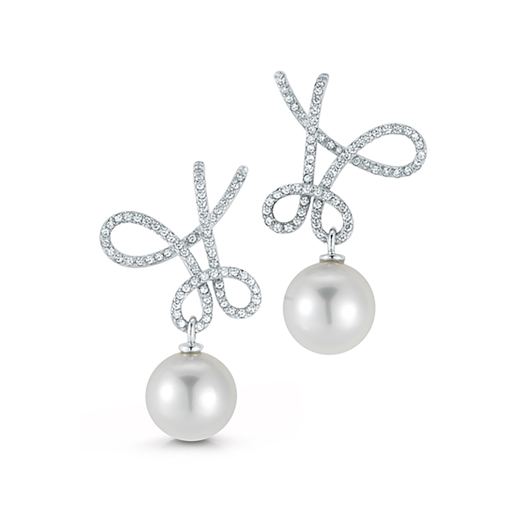 Kaleidoscope South Sea Pearl and Diamond Pave Twisting Earrings by Diana Vincent