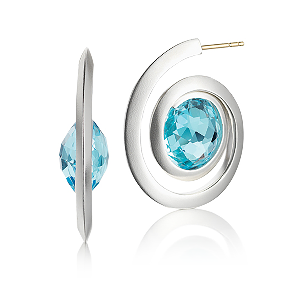 Modern Kaleidoscope Blue Topaz and Sterling Silver Spiral Earring by Diana Vincent