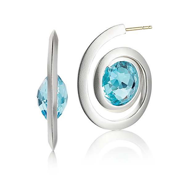 Kaleidoscope Blue Topaz and Sterling Silver Spiral Earring