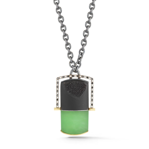 Carved Chrysoprase, Druzy Gemstone and Black & White Diamond Pendant Necklace by Diana Vincent