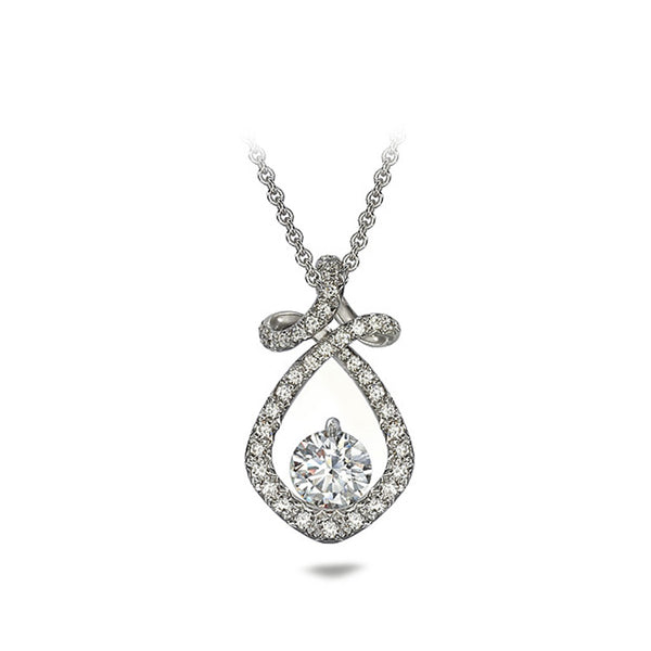 Dancing Twizzle Twist Design Diamond Pave and White Gold Pendant Necklace by Diana Vincent