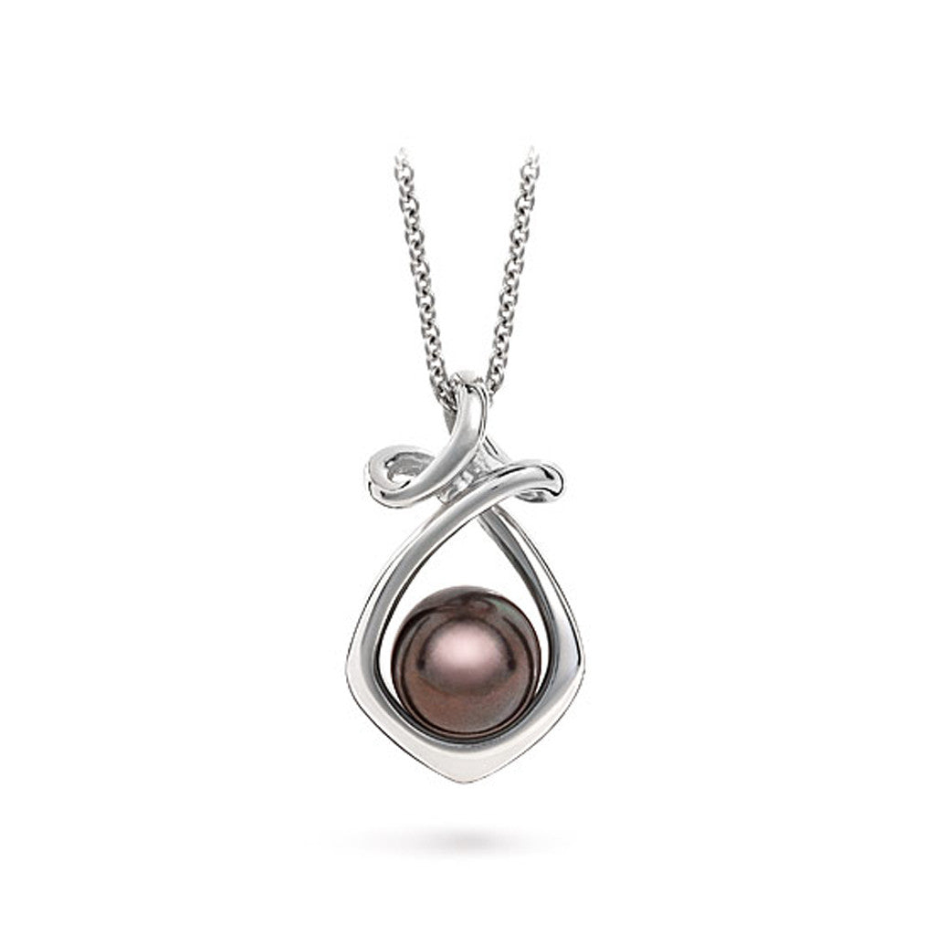 Dancing Twizzle Black Pearl and White Gold Pendant Necklace by Diana Vincent