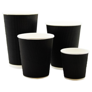 Classic Black Ripple Wall Hot Vending Cup