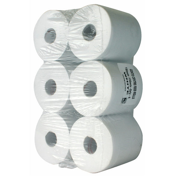 Centre Feed White Paper Roll -150m - 2 Ply