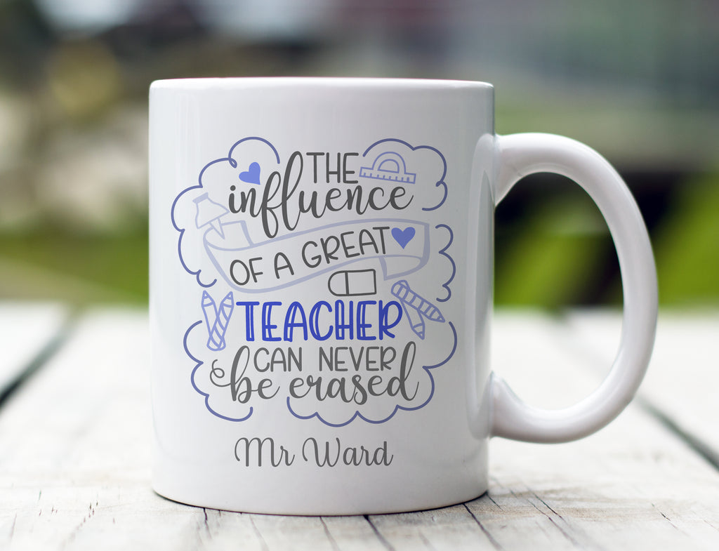 Personalised Influence of A Teacher Mug (Blue)