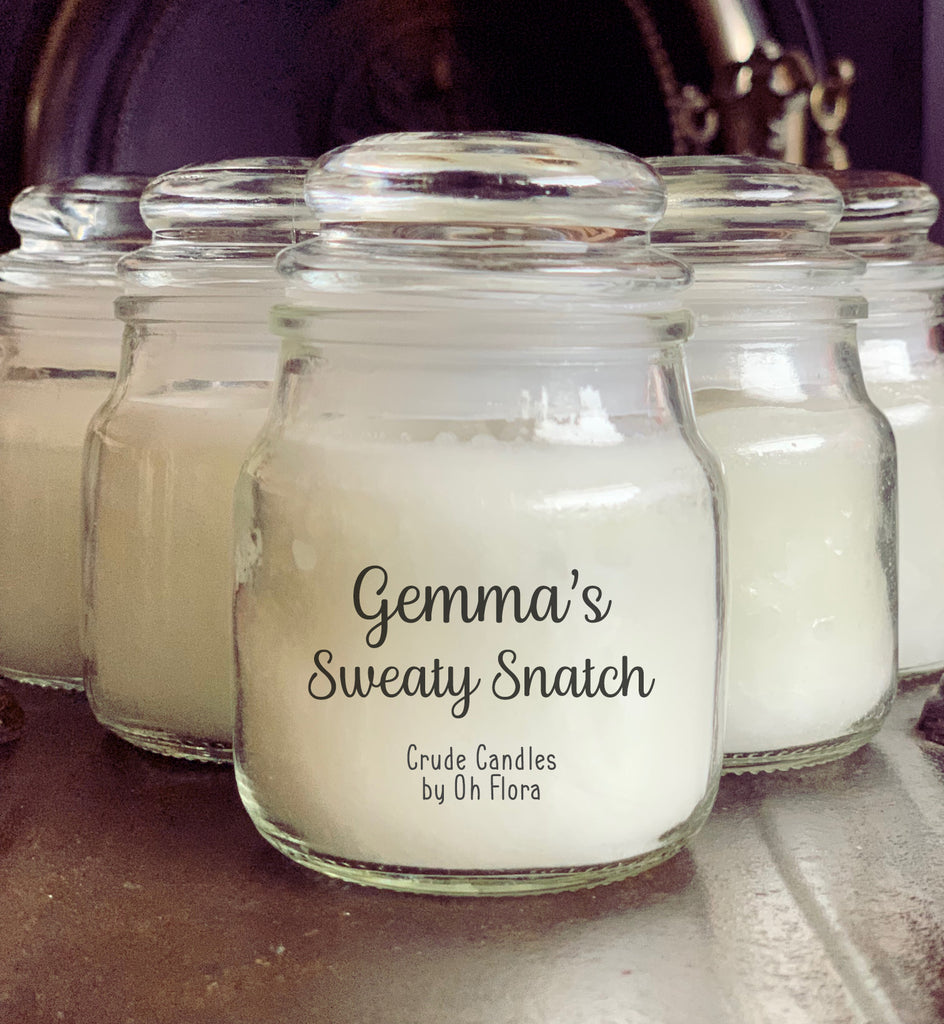 Personalised Sweaty Snatch Small Jar Candle