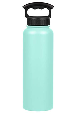 Fifty/Fifty 40oz, Sport Double Wall Vacuum Insulated Water Bottle, Stainless Steel, 3 Finger Cap w/ Wide Mouth, Cool Mint, Cool Mint, 40 oz.
