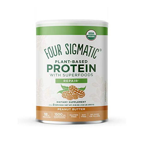 FOUR SIGMATIC Superfood Organic Plant-Based Protein with Chaga Mushroom & Ashwagandha, Canister, Peanut Butter, 1.32 Pound (Pack of 1), 21.16 Oz
