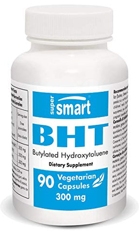 Supersmart - BHT 300 Mg - Butylated Hydroxytoluene - Powerful Antioxidant Aimed at Extending Lifespan & Preventing Viral Attacks | Non-GMO - 90 Vegetarian Capsules.